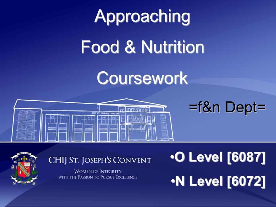 Approaching Food & Nutrition Coursework =f&n Dept= O Level [6087]